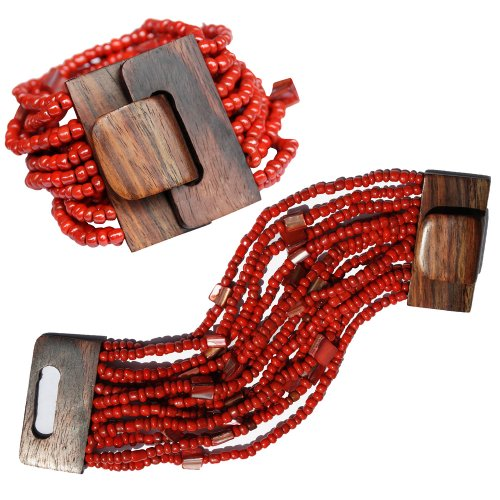 Red 14 Strand Elastic Stretchy Glass Beaded Bracelet With Wooden Buckle Clasp - 2