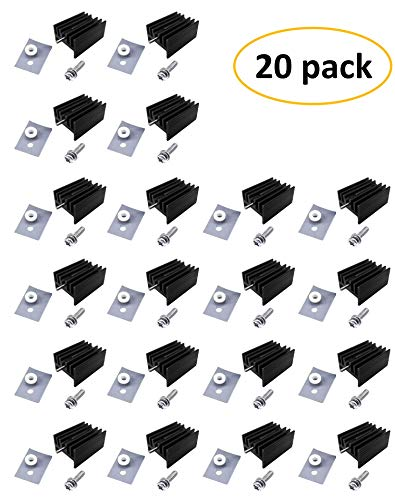 Easycargo TO-220 Heatsink + Insulator/Mounting kits (TO220 Heat sink +Screw+Washer+Bushing+Insulator rubberized Silicone) for LM78XX voltage regulator, MOSFET transistor 20mmx15mmx11mm (Black 20 pack) by Easycargo (Image #5)'