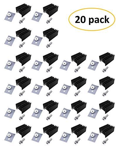 Easycargo TO-220 Heatsink + Insulator/Mounting kits (TO220 Heat sink +Screw+Washer+Bushing+Insulator rubberized Silicone) for LM78XX voltage regulator, MOSFET transistor 20mmx15mmx11mm (Black 20 pack)