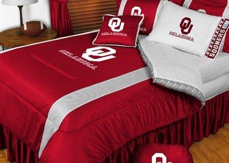 Oklahoma Sooners NCAA Bedding - Sidelines Comforter and Sheet Set Combo - Full (Full Oklahoma Sooners Comforter)