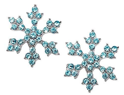 Sparkling Crystal Snowflake Stud Earrings Christmas Winter Bridal Fashion Jewelry (Aqua Blue)
