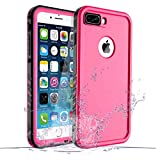 life proof water seal - iPhone 8 Plus/7 Plus Waterproof Case, Waterproof iPhone 8 Plus Shockproof Full-Body Rugged Cover Case with Built-in Screen Protector for Apple iPhone 8 Plus and iPhone 7 Plus-(Pink)
