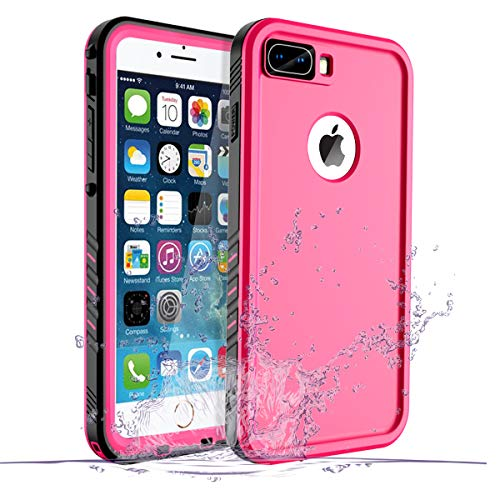 iPhone 8 Plus/7 Plus Waterproof Case, Waterproof iPhone 8 Plus Shockproof Full-Body Rugged Cover Case with Built-in Screen Protector for Apple iPhone 8 Plus and iPhone 7 Plus-(Pink)