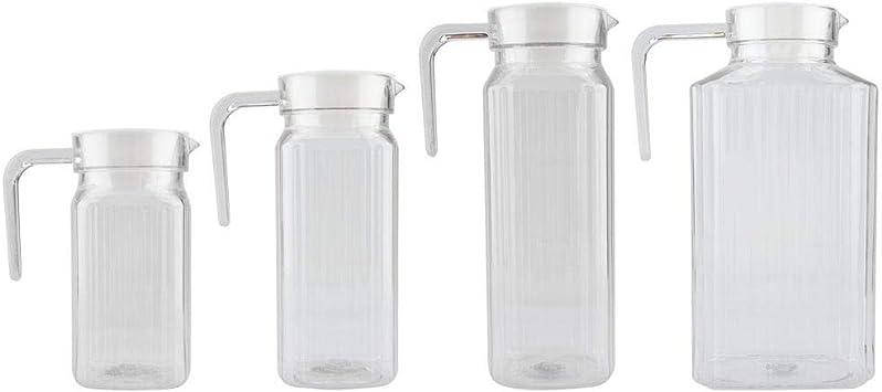 Agua fr/ía Botella de pl/ástico acr/ílico Transparente para Zumo de Vino 500 ml con Tapa para aplicaci/ón en el hogar Duokon