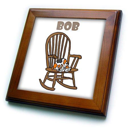 3dRose Funny Calico Cat Named Boba con Cola de Stubby en Balancín Silla de baldosa enmarcada, 6 x 6