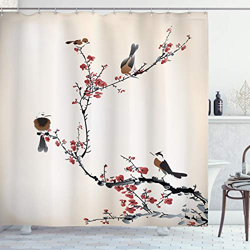 Ambesonne Nature Shower Curtain, Birds on Cherry Tree Branches Summer Classic Oriental Illustration, Cloth Fabric Bathroom Decor Set with Hooks, 70 Long, Ruby Caramel