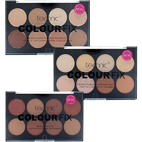 Technic 8 Colour Fix Palette Collection 8 Contour Powder, 8 Cream Foundation & 8 Bronze Powder