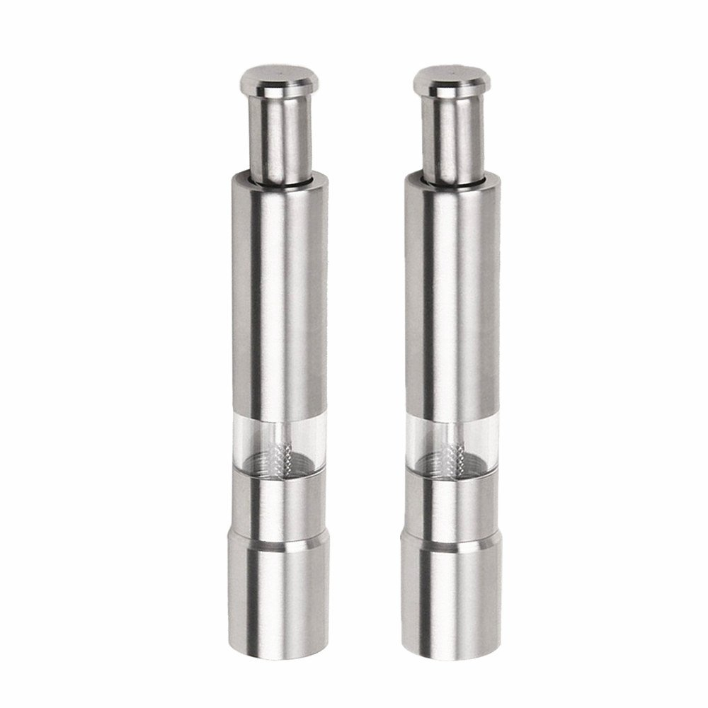 Premium Stainless Steel Salt and Pepper Grinder Set of 2, One Hand Operated Pepper Mill Set, Salt and Pepper Shakers by Leereal (2, Long)