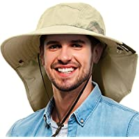 Tirrinia Unisex Safari Sun Flap Hat Fishing Hiking Cap With Neck Cover Wide Brim Hat
