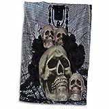 3dRose WhiteOaks Halloween Skulls - Skull012 Picture with four skulls - 12x18 Hand Towel (twl_27276_1)