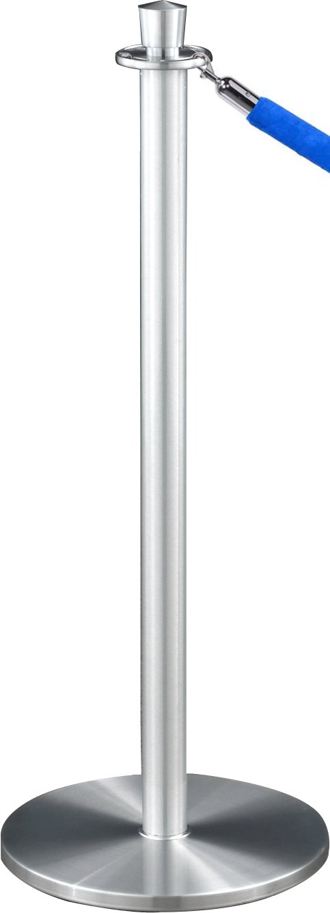 4 Blue Velour Rope Included Inc. Satin Aluminum Finish Glaro 1327SA-N3BLUESA4 Crown Top Stanchion