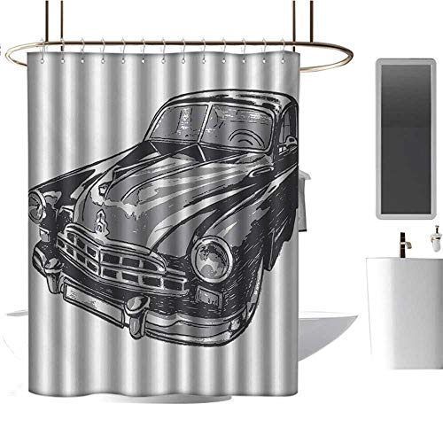 (Qenuan Shower Curtain Cars,Hand Drawn Vintage Vehicle with Detailed Front Part Hood Lamps Rear View Mirror,Grey Blue Grey,Hand Drawing Effect Fabric Shower Curtains 72