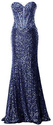 MACloth Women Mermaid Prom Dress Strapless Sequin Long Formal Party Evening Gown (16w, Dark Navy)