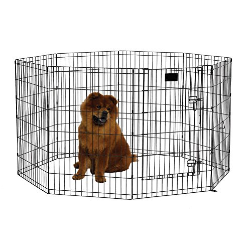 MidWest Foldable Metal Exercise Pen/Pet Playpen. Black w/door, 24' W x 36' H