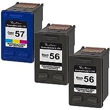 Valuetoner 3 Pack Remanufactured Ink Cartridges for HP 56 & HP 57 CD944FN C6656AN C6657AN for HP Deskjet 5850 5650 5150, Photosmart 4215 7150 7260 7350 7960, PSC 2510 Printer, (2 Black, 1 Tri-Color)
