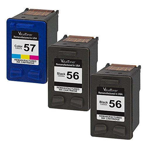 Valuetoner Remanufactured Ink Cartridge Replacement for Hewlett Packard HP 56 & HP 57 CD944FN C6656AN C6657AN (2 Black, 1 Tri-Color) 3 Pack