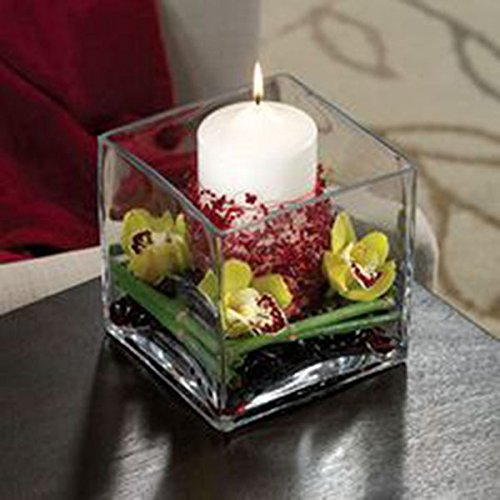 Chic and Classy Square Glass Votive Candle Holder Set of 4 Made in USA | ChristmasTablescapeDecor.com