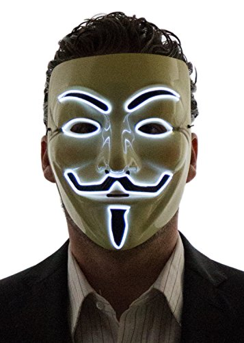 Neon Nightlife Men's Light Up V for Vendetta, Guy Fawkes Mask, One Size, White -