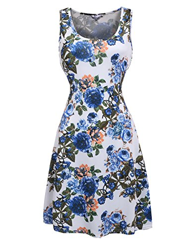 Meaneor Women's Floral Fit and Flare Casual Sleeveless Cocktail Dress