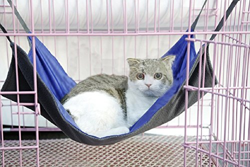 2 Sides Cat Kitty Hammock Hanging Bed - Waterproof Hammock Fleece Warm Swing Bed for Cat Ferret Rabbit Bunny Small Animal Cage Hammock (Small, Blue)