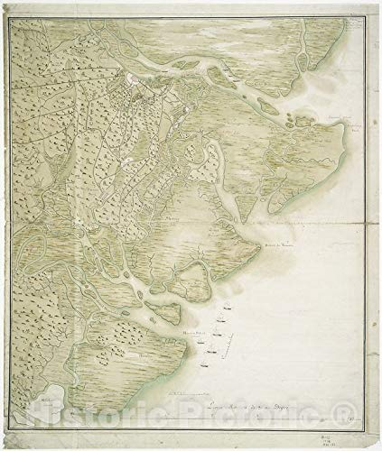 Historic [Date not available] Map | Plan of Savannah and the islands and country around it | Savannah (Ga.) American Historical Prints. | Vintage Wall Art | 36in x 44in