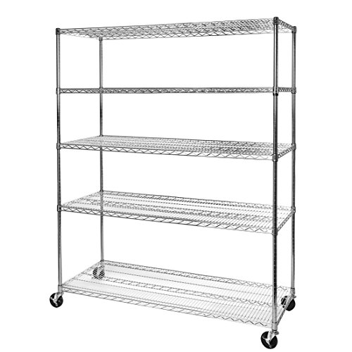 Seville Classics UltraDurable Commercial-Grade 5-Tier NSF-Certified Steel Wire Shelving with Wheels, 60
