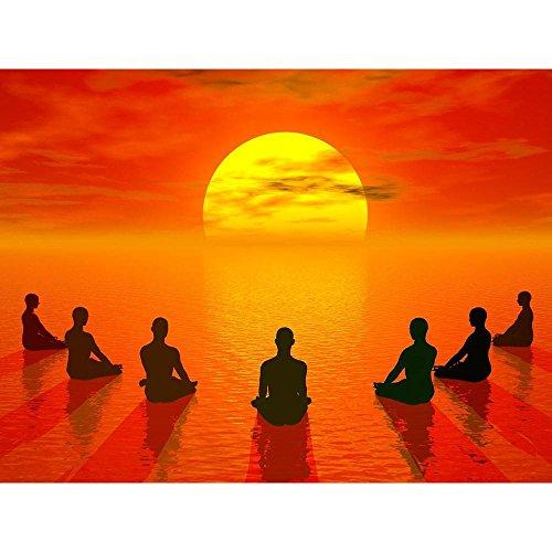 Pitaara Box Lotus Position Meditation Unframed Canvas Painting 40 x 30inch by Pitaara Box