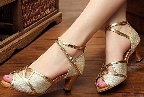 Abby Femmes Latin Salsa Tango Cha-cha Pratique Confortable Personnalisé Talon Peep Toe Satin Professionnel Danse-chaussures Or