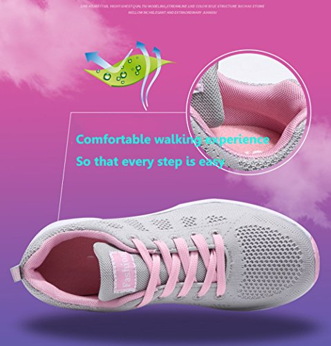 PAMRAY Womens Ladies Trainers Lace-up Fitness Sports Shoes Athletic Running Sneakers Black Blue Grey White 35-40 Grey(slim Model,pls Choose 1 Size Up)