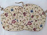 SET OF 2 FLORAL SPINDLE BACK CHAIR SEAT PADS (For Seats Approx.17' Wide X 15' Deep)