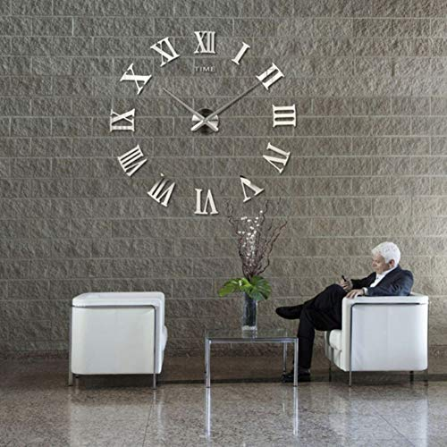 WPFZH ACYKM Roman Mirror 3D Real Big Home Decor Large Quartz Clocks Fashion Watches Fashion Modern Silver - Watch Modern Fashion