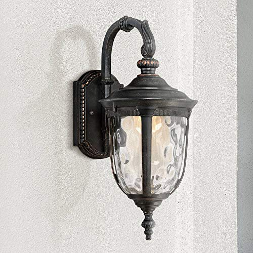 (Bellagio Traditional Outdoor Wall Light Fixture LED Carriage Style Valencia Bronze 16 1/2
