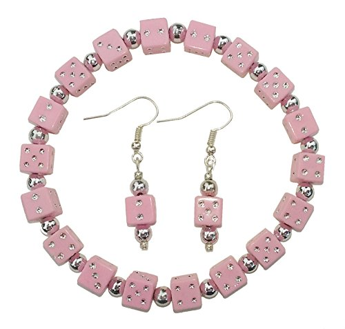- Pink Dice Bracelet & Earring Set for Bunco