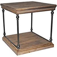 Crestview Metal Accent Tables La Salle Metal And Wood End Table 23 X 24 X 25 Inches Brown Model # CVFZR1909