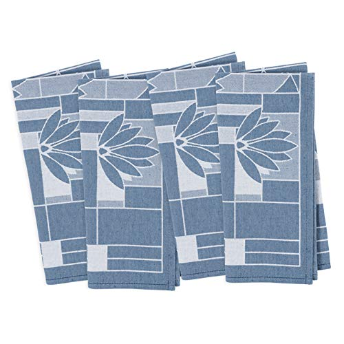 - KAF Home Frank Lloyd Wright Woven Jacquard Dinner Napkin 20 x 20-inch 100-Percent Cotton Set of 4 (Water Lilies)