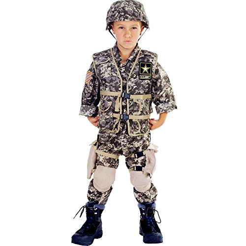 Camo Vest Costume (Underwraps Big Boy's Children's Deluxe Army Ranger Costume - Large Childrens Costume, camouflage, Large)