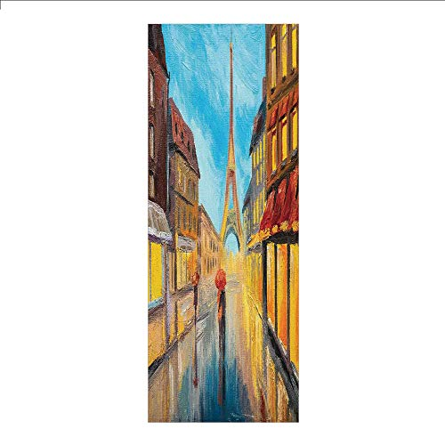 (Ylljy00 Decorative Privacy Window Film/Couple with Umbrella on Historical Street to Eiffel Tower Paris Art/No-Glue Self Static Cling for Home Bedroom Bathroom Kitchen Office Decor Orange Blue)