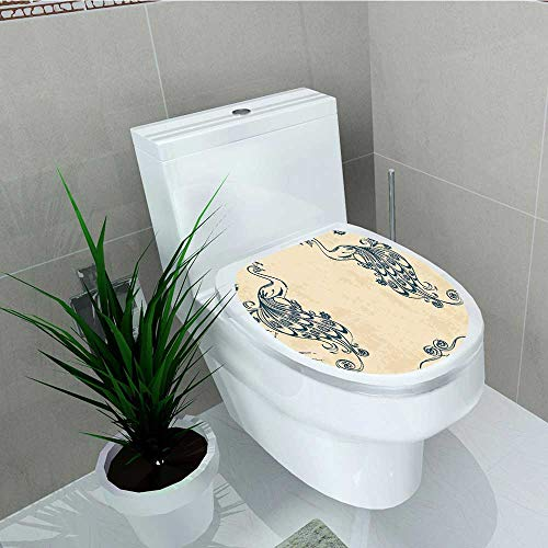 Philip C. Williams Home Decoration Style with s Ornamental Lines Classic Home Deco Teal Toilet Cover Stickers W13 x L13 -