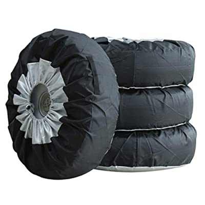 PGMARO Seasonal Tire Tote Spare Tire Cover Portable Wheel Bags Winter Tire Cover Eco-Friendly Tire Totes Handle for Easy Transportation 4pcs Fits 25-31 Inch Tire Diameter Cars and Trucks (M): Automotive