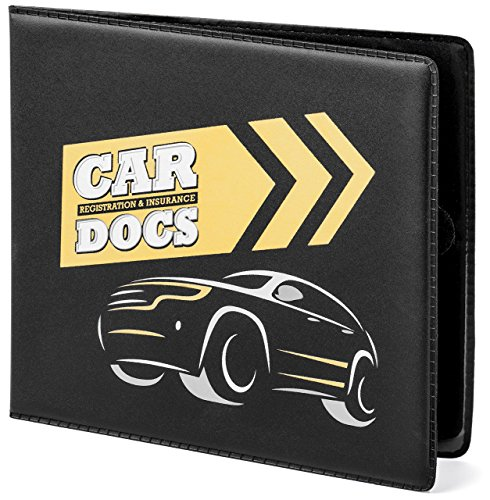 Price comparison product image CAR DOCS HOLDER CASE for Insurance,  DMV,  Registration,  AAA,  Auto Club,  for Car Truck SUV,  Motorcycle,  velcro closure,  safely store important documents in glove box or visor flap. A stress reducer.
