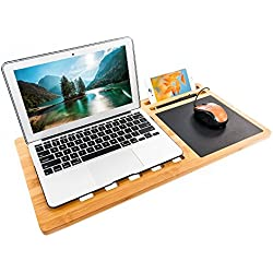 Bonnlo Bamboo Lap Desk Board Multi Tasking Laptop Cooling Tray Serving Bed for Macbook Notebook with Ipad Tablet Cellphone Stand Holder and Built-in Mouse Pad 22 X 11 Inches