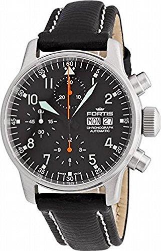 Fortis Men's 597.11.11L Flieger Automatic Chronograph Black Dial Watch