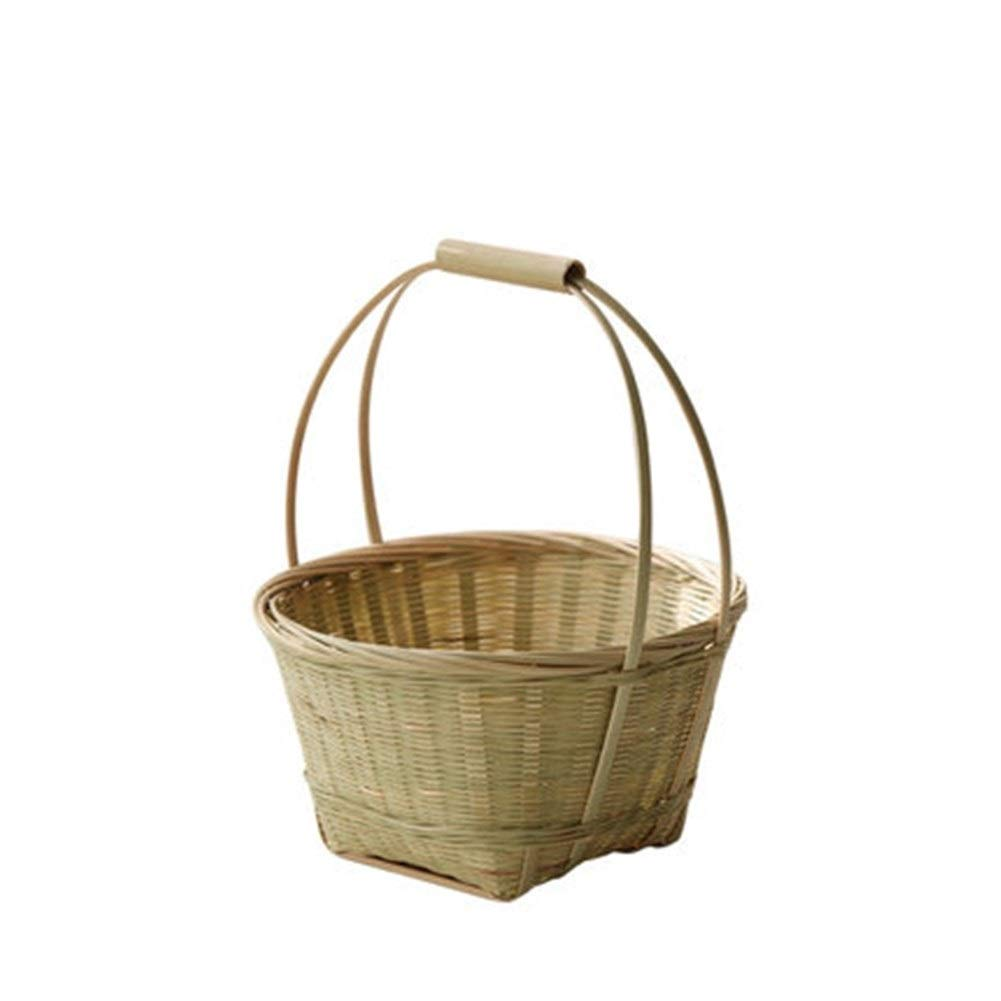 QINRUIKUANGSHAN Bamboo Small Fruit Basket, Bamboo Products Bamboo Basket, Egg Basket, Basket, Gifts Creative Portable Household Storage Basket Bread Basket, (Color : Natural, Size : 1823cm) by QINRUIKUANGSHAN