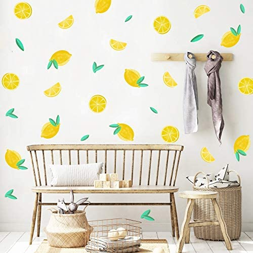 Summer Cool Lemon Removable Wall Decals Yellow Mod Lemonade Wall Sticker Acid Lemon Citrus Lemons Polkadot Stripes Fruit Print Wall Art For Bedroom Home Decor