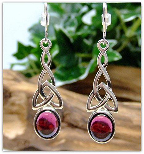 Garnet Silver Earring Set Celtic in .925 silver Fish hook dangle Christmas gift birthday gift for her mother gift bridesmaid