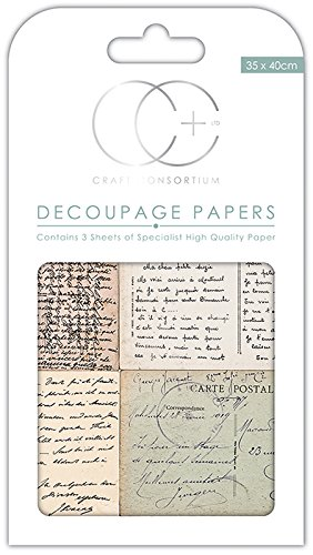 Craft Consortium Premium decoupage–Cartolina Scipt Craft Consortium Ltd