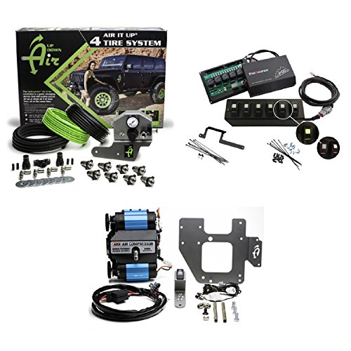 - Up Down Air 22-7810/69-0717 Air It Up 4 Tire On Board Air Delivery w/ARB CKMTA12 Compressor & sPOD 600-0915LT-LED-G Double Light All Green 6 Switch w/Source System for 09-15 Wrangler JK