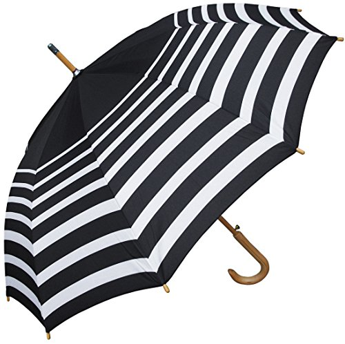 rainstoppers w043 auto open striped arc umbrella with hook handle black white 48. Black Bedroom Furniture Sets. Home Design Ideas