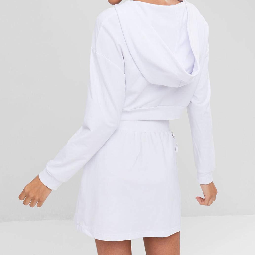 Amazon.com: FimKaul Womens 2 Pcs Plain Crop Top Hoodies Lace up+ Skirt Set: Sports & Outdoors