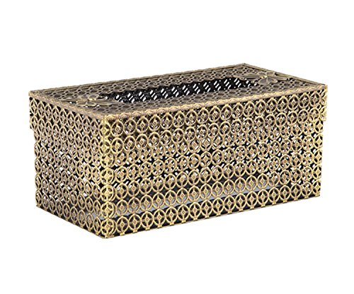 SEHAMANO Circle Cross Designed Vintage Rectangle Tissue Holder - Antique Decorative Metal Tissue Box Cover (Matt Gold (Brass)) ()